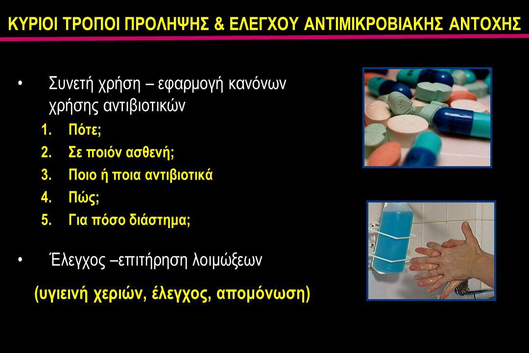 ΚΥΡΙΟΙ ΤΡΟΠΟΙ ΠΡΟΛΗΨΗΣ & ΕΛΕΓΧΟΥ ΑΝΤΙΜΙΚΡΟΒΙΑΚΗΣ ΑΝΤΟΧΗΣ Συνετή χρήση – εφαρμογή κανόνων χρήσης αντιβιοτικών 1.Πότε; 2.Σε ποιόν ασθενή; 3.Ποιο ή ποια αντιβιοτικά 4.Πώς; 5.Για πόσο διάστημα; Έλεγχος –επιτήρηση λοιμώξεων (υγιεινή χεριών, έλεγχος, απομόνωση)