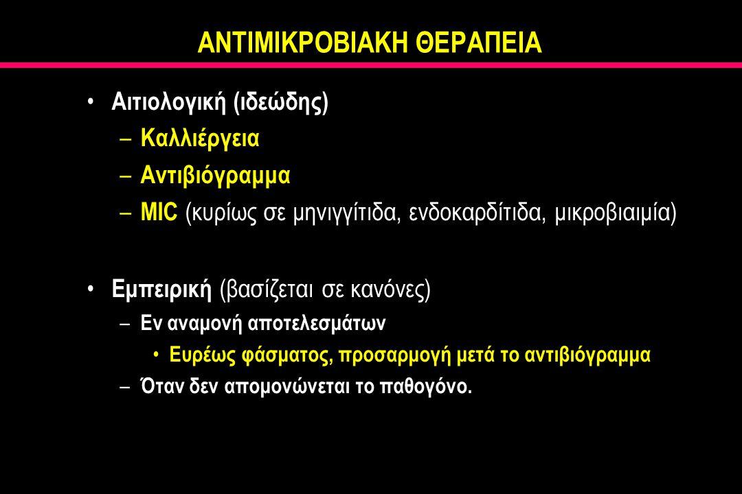ΑΝΤΙΜΙΚΡΟΒΙΑΚΗ ΘΕΡΑΠΕΙΑ Αιτιολογική (ιδεώδης) – Καλλιέργεια – Αντιβιόγραμμα – MIC (κυρίως σε μηνιγγίτιδα, ενδοκαρδίτιδα, μικροβιαιμία) Εμπειρική (βασίζεται σε κανόνες) – Εν αναμονή αποτελεσμάτων Ευρέως φάσματος, προσαρμογή μετά το αντιβιόγραμμα – Όταν δεν απομονώνεται το παθογόνο.