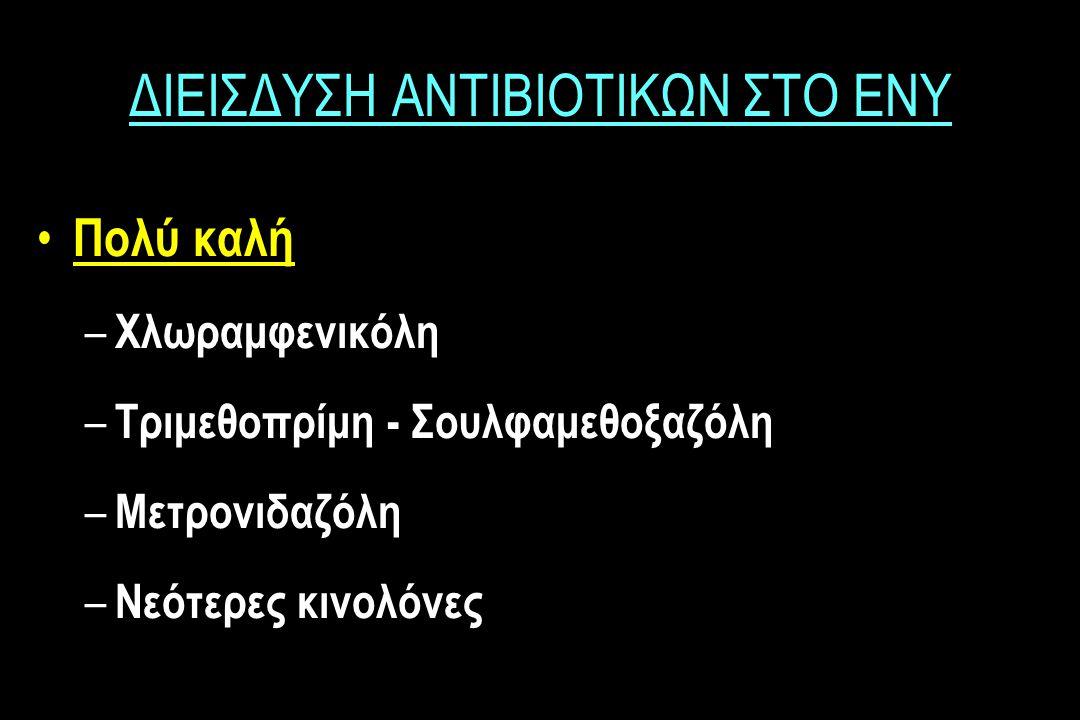 ΔΙΕΙΣΔΥΣΗ ΑΝΤΙΒΙΟΤΙΚΩΝ ΣΤΟ ΕΝΥ Πολύ καλή – Χλωραμφενικόλη – Tριμεθοπρίμη - Σουλφαμεθοξαζόλη – Μετρονιδαζόλη – Νεότερες κινολόνες