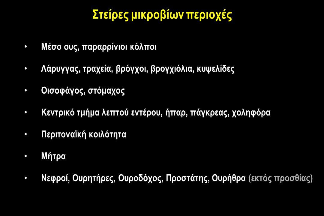 Στείρες μικροβίων περιοχές Μέσο ους, παραρρίνιοι κόλποι Λάρυγγας, τραχεία, βρόγχοι, βρογχιόλια, κυψελίδες Οισοφάγος, στόμαχος Κεντρικό τμήμα λεπτού εντέρου, ήπαρ, πάγκρεας, χοληφόρα Περιτοναϊκή κοιλότητα Μήτρα Νεφροί, Ουρητήρες, Ουροδόχος, Προστάτης, Ουρήθρα (εκτός προσθίας)