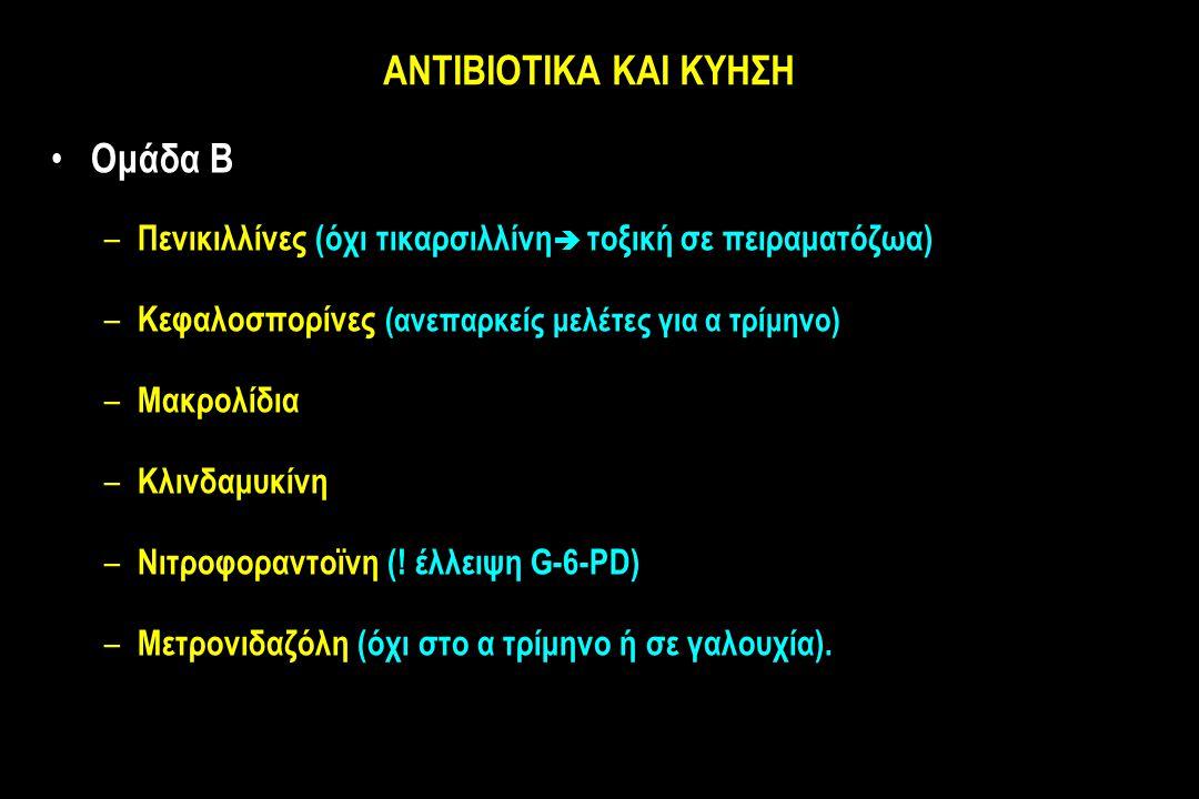 ΑΝΤΙΒΙΟΤΙΚΑ ΚΑΙ ΚΥΗΣΗ Ομάδα Β – Πενικιλλίνες (όχι τικαρσιλλίνη  τοξική σε πειραματόζωα) – Κεφαλοσπορίνες (ανεπαρκείς μελέτες για α τρίμηνο) – Μακρολίδια – Κλινδαμυκίνη – Νιτροφοραντοϊνη (.