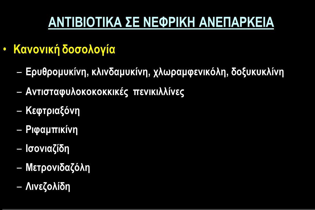 ΑΝΤΙΒΙΟΤΙΚΑ ΣΕ ΝΕΦΡΙΚΗ ΑΝΕΠΑΡΚΕΙΑ Κανονική δοσολογία – Ερυθρομυκίνη, κλινδαμυκίνη, χλωραμφενικόλη, δοξυκυκλίνη – Αντισταφυλοκοκοκκικές πενικιλλίνες – Κεφτριαξόνη – Ριφαμπικίνη – Ισονιαζίδη – Μετρονιδαζόλη – Λινεζολίδη