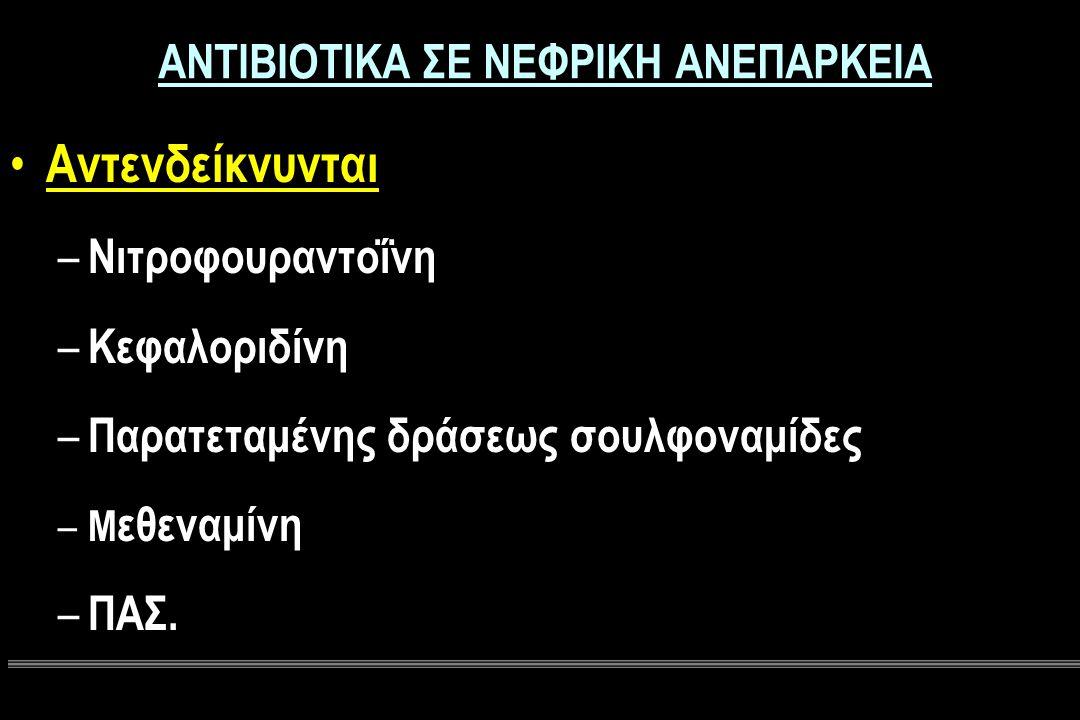ΑΝΤΙΒΙΟΤΙΚΑ ΣΕ ΝΕΦΡΙΚΗ ΑΝΕΠΑΡΚΕΙΑ Αντενδείκνυνται – Νιτροφουραντοΐνη – Κεφαλοριδίνη – Παρατεταμένης δράσεως σουλφοναμίδες – Μ εθεναμίνη – ΠΑΣ.