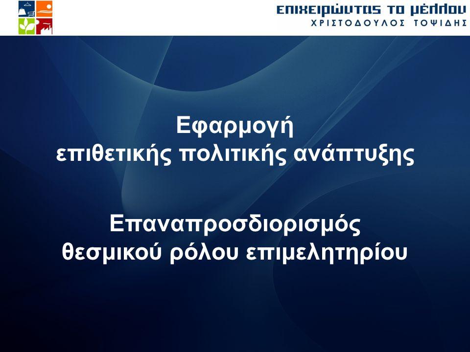 Εφαρμογή επιθετικής πολιτικής ανάπτυξης Επαναπροσδιορισμός θεσμικού ρόλου επιμελητηρίου