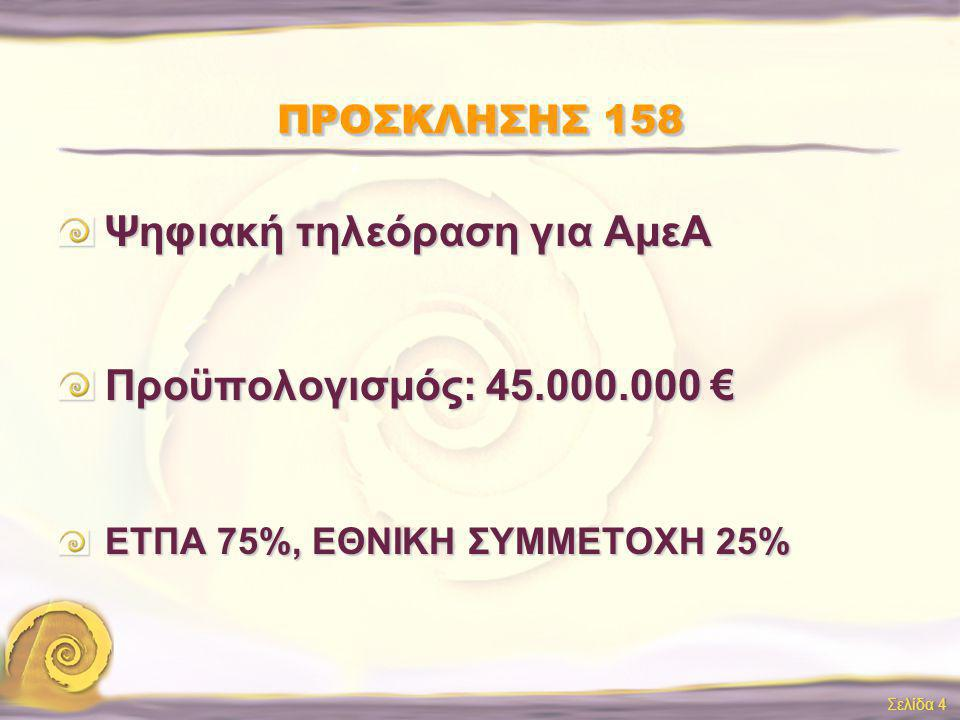 Σελίδα 4 ΠΡΟΣΚΛΗΣΗΣ 158 Ψηφιακή τηλεόραση για ΑμεΑ Προϋπολογισμός: 45.000.000 € ΕΤΠΑ 75%, ΕΘΝΙΚΗ ΣΥΜΜΕΤΟΧΗ 25%