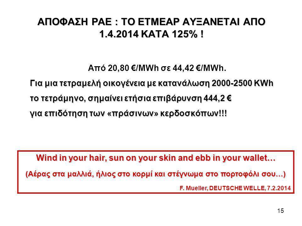 15 ΑΠΟΦΑΣΗ ΡΑΕ : ΤΟ ΕΤΜΕΑΡ ΑΥΞΑΝΕΤΑΙ ΑΠΟ 1.4.2014 ΚΑΤΑ 125% .