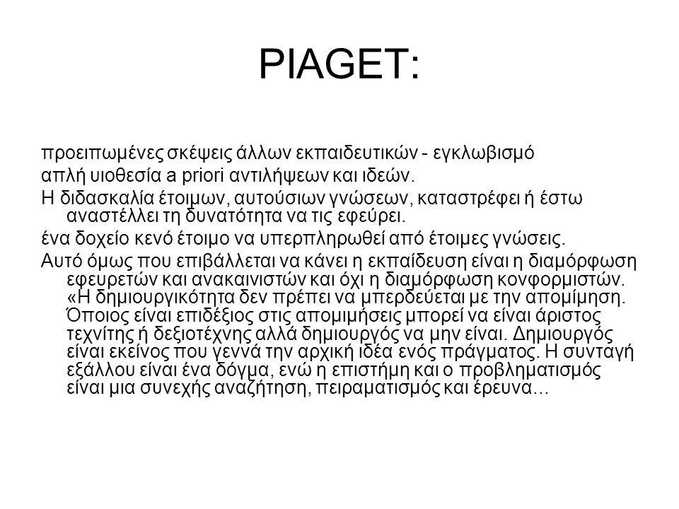 PIAGET: προειπωμένες σκέψεις άλλων εκπαιδευτικών - εγκλωβισμό απλή υιοθεσία a priori αντιλήψεων και ιδεών.