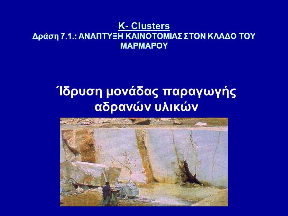 K- K- Clusters Δράση 7.1.: ΑΝΑΠΤΥΞΗ ΚΑΙΝΟΤΟΜΙΑΣ ΣΤΟΝ ΚΛΑΔΟ ΤΟΥ ΜΑΡΜΑΡΟΥ Ίδρυση μονάδας παραγωγής αδρανών υλικών