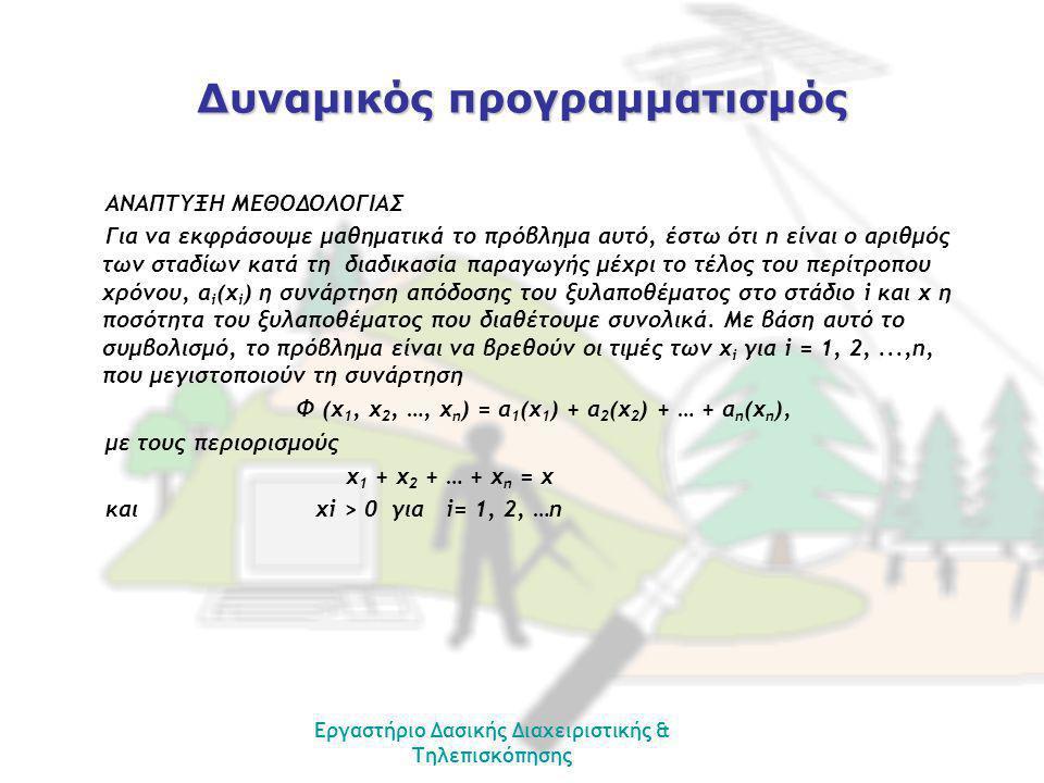 Εργαστήριο Δασικής Διαχειριστικής & Τηλεπισκόπησης Δυναμικός προγραμματισμός ΑΝΑΠΤΥΞΗ ΜΕΘΟΔΟΛΟΓΙΑΣ Για να εκφράσουμε μαθηματικά το πρόβλημα αυτό, έστω ότι n είναι ο αριθμός των σταδίων κατά τη διαδικασία παραγωγής μέχρι το τέλος του περίτροπου χρόνου, α i (x i ) η συνάρτηση απόδοσης του ξυλαποθέματος στο στάδιο i και x η ποσότητα του ξυλαποθέματος που διαθέτουμε συνολικά.