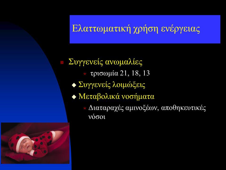Ελαττωματική χρήση ενέργειας Συγγενείς ανωμαλίες  τρισωμία 21, 18, 13  Συγγενείς λοιμώξεις  Μεταβολικά νοσήματα  Διαταραχές αμινοξέων, αποθηκευτικ