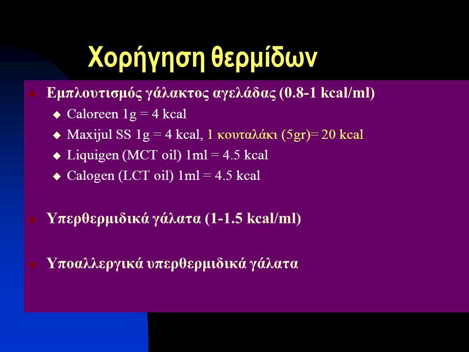 Χορήγηση θερμίδων Εμπλουτισμός γάλακτος αγελάδας (0.8-1 kcal/ml)  Caloreen 1g = 4 kcal  Maxijul SS 1g = 4 kcal, 1 κουταλάκι (5gr)= 20 kcal  Liquige
