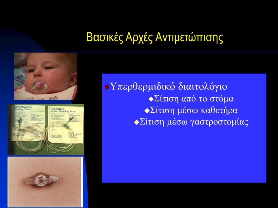 Βασικές Αρχές Αντιμετώπισης Υπερθερμιδικό διαιτολόγιο  Σίτιση από το στόμα  Σίτιση μέσω καθετήρα  Σίτιση μέσω γαστροστομίας