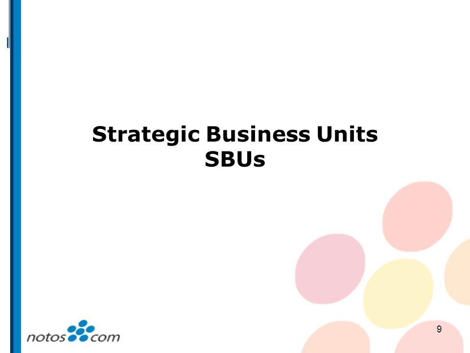 9 Strategic Business Units SBUs