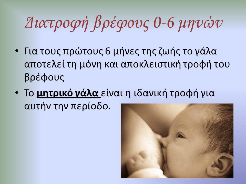 Διατροφή βρέφους 0-6 μηνών Πλεονεκτήματα μητρικού γάλακτος-θηλασμού – εύπεπτο, κατάλληλα προσαρμοσμένο στις ανάγκες του βρέφους – φρέσκο, άμεσα διαθέσιμο, χωρίς προετοιμασία, στην κατάλληλη θερμοκρασία, χωρίς παθογόνους μικροοργανισμούς – ενισχυση ανοσοποιητικού συστήματος – πρόληψη λοιμώξεων εντέρου, βελτίωση επιβίωσης στις αναπτυσσόμενες χώρες