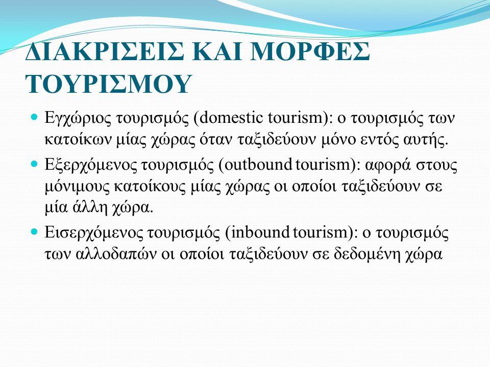 ΔΙΑΚΡΙΣΕΙΣ ΚΑΙ ΜΟΡΦΕΣ ΤΟΥΡΙΣΜΟΥ Εγχώριος τουρισμός (domestic tourism): ο τουρισμός των κατοίκων μίας χώρας όταν ταξιδεύουν μόνο εντός αυτής.