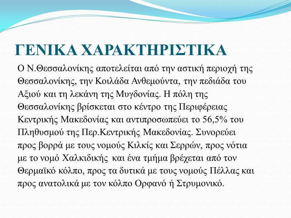 ΓΕΝΙΚΑ ΧΑΡΑΚΤΗΡΙΣΤΙΚΑ Ο Ν.Θεσσαλονίκης αποτελείται από την αστική περιοχή της Θεσσαλονίκης, την Κοιλάδα Ανθεμούντα, την πεδιάδα του Αξιού και τη λεκάνη της Μυγδονίας.