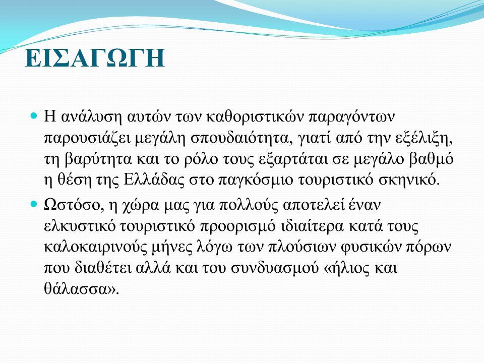ΕΙΣΑΓΩΓΗ Η ανάλυση αυτών των καθοριστικών παραγόντων παρουσιάζει μεγάλη σπουδαιότητα, γιατί από την εξέλιξη, τη βαρύτητα και το ρόλο τους εξαρτάται σε μεγάλο βαθμό η θέση της Ελλάδας στο παγκόσμιο τουριστικό σκηνικό.