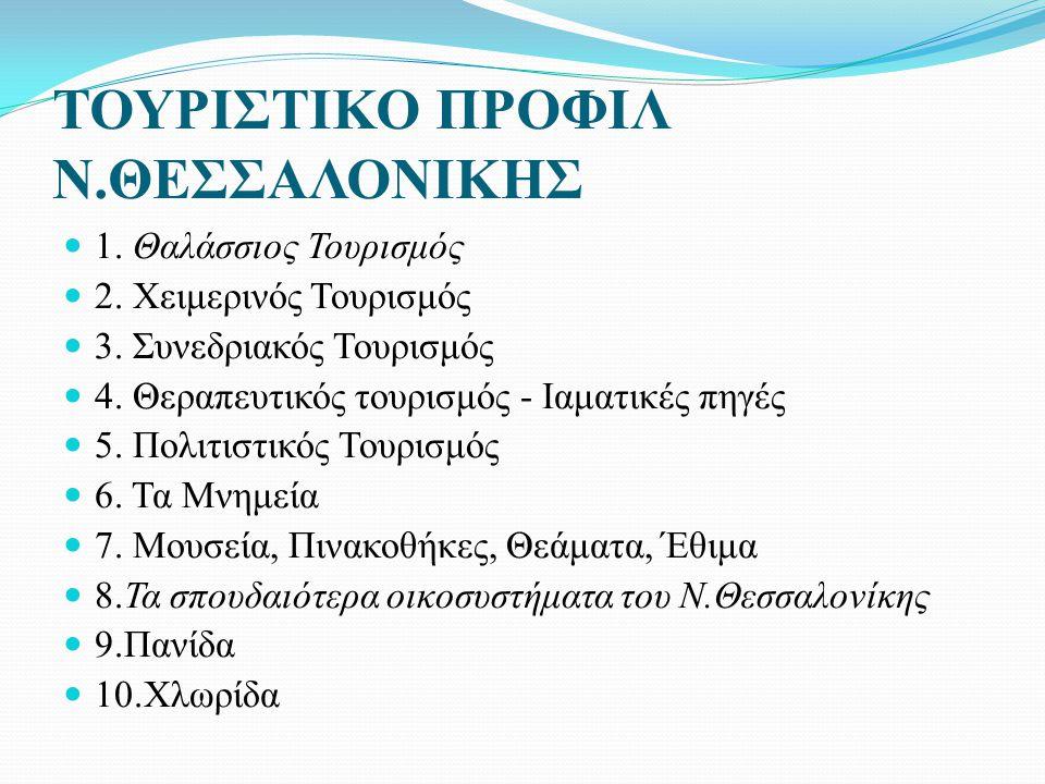 ΤΟΥΡΙΣΤΙΚΟ ΠΡΟΦΙΛ Ν.ΘΕΣΣΑΛΟΝΙΚΗΣ 1.Θαλάσσιος Τουρισμός 2.