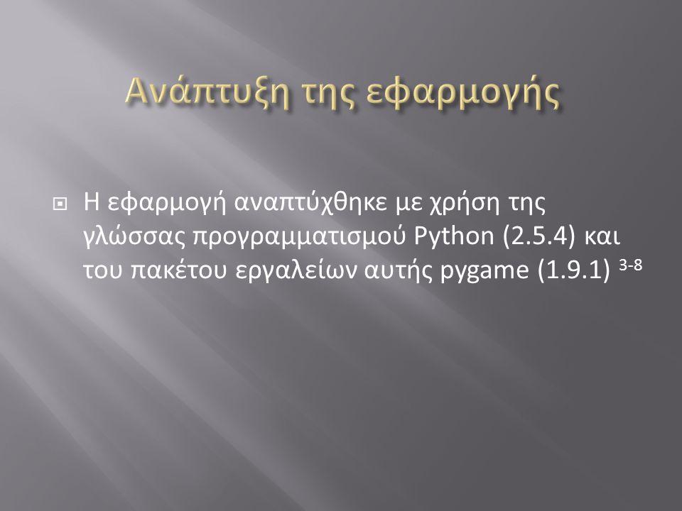  Η εφαρμογή αναπτύχθηκε με χρήση της γλώσσας προγραμματισμού Python (2.5.4) και του πακέτου εργαλείων αυτής pygame (1.9.1) 3-8