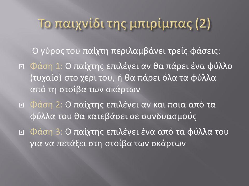 Ο γύρος του παίχτη περιλαμβάνει τρείς φάσεις:  Φάση 1: Ο παίχτης επιλέγει αν θα πάρει ένα φύλλο (τυχαίο) στο χέρι του, ή θα πάρει όλα τα φύλλα από τη στοίβα των σκάρτων  Φάση 2: Ο παίχτης επιλέγει αν και ποια από τα φύλλα του θα κατεβάσει σε συνδυασμούς  Φάση 3: Ο παίχτης επιλέγει ένα από τα φύλλα του για να πετάξει στη στοίβα των σκάρτων