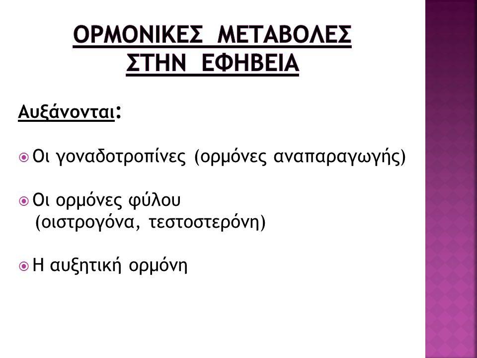 Αυξάνονται :  Οι γοναδοτροπίνες (ορμόνες αναπαραγωγής)  Οι ορμόνες φύλου (οιστρογόνα, τεστοστερόνη)  Η αυξητική ορμόνη
