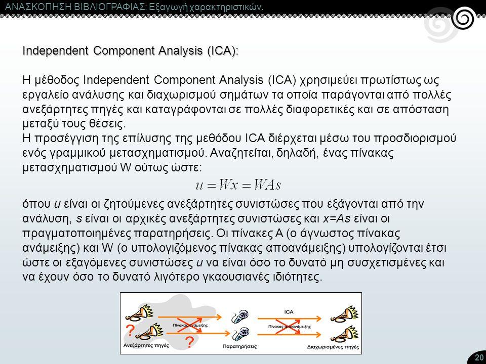 20 ΑΝΑΣΚΟΠΗΣΗ ΒΙΒΛΙΟΓΡΑΦΙΑΣ: Εξαγωγή χαρακτηριστικών. Independent Component Analysis (ICA): Η μέθοδος Independent Component Analysis (ICA) χρησιμεύει