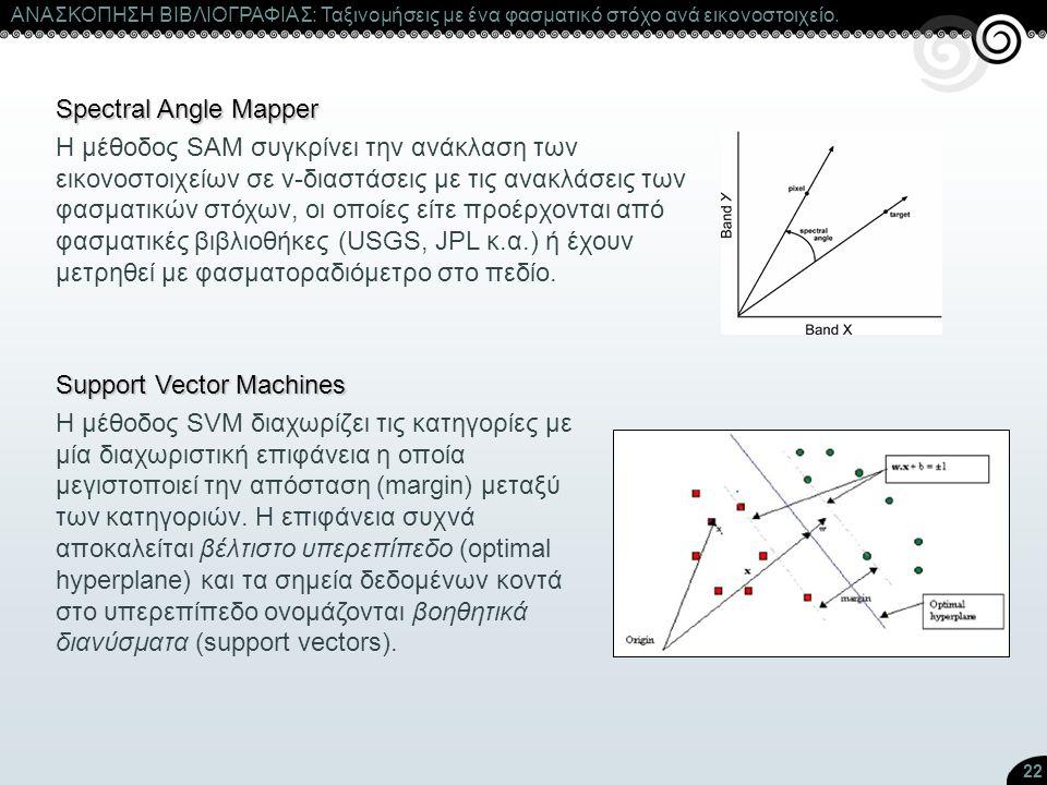 22 Spectral Angle Mapper Η μέθοδος SAM συγκρίνει την ανάκλαση των εικονοστοιχείων σε ν-διαστάσεις με τις ανακλάσεις των φασματικών στόχων, οι οποίες ε