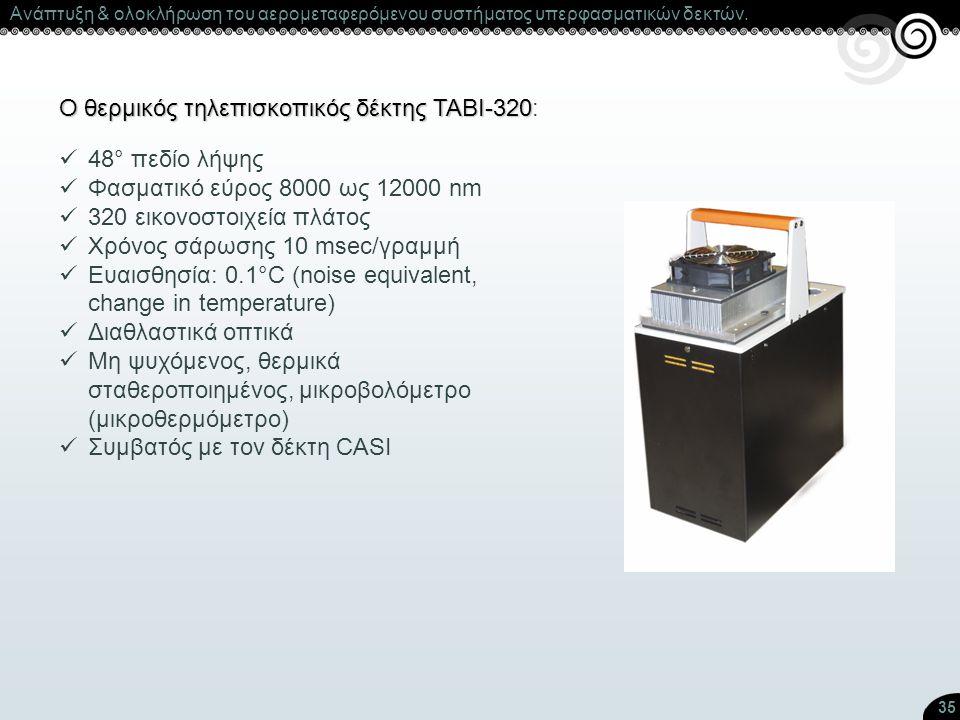 35 Ο θερμικός τηλεπισκοπικός δέκτης ΤΑΒΙ-320 Ο θερμικός τηλεπισκοπικός δέκτης ΤΑΒΙ-320: 48° πεδίο λήψης Φασματικό εύρος 8000 ως 12000 nm 320 εικονοστο