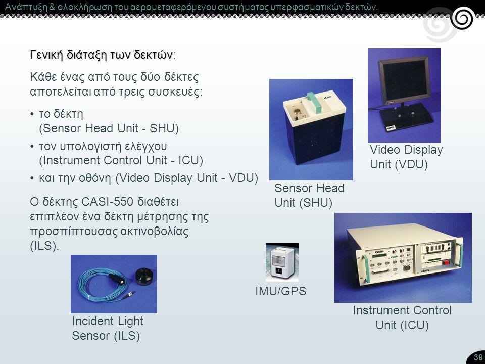 38 Γενική διάταξη των δεκτών Γενική διάταξη των δεκτών: Sensor Head Unit (SHU) Instrument Control Unit (ICU) Incident Light Sensor (ILS) Video Display