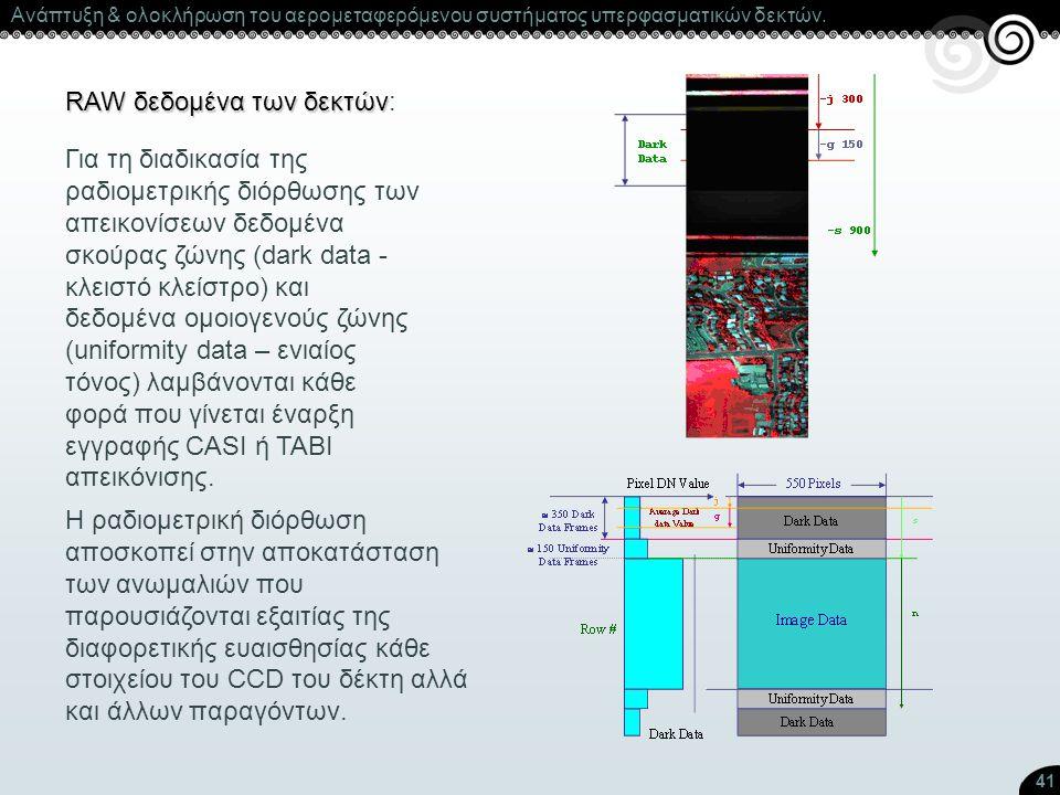 41 RAW δεδομένα των δεκτών RAW δεδομένα των δεκτών: Για τη διαδικασία της ραδιομετρικής διόρθωσης των απεικονίσεων δεδομένα σκούρας ζώνης (dark data -