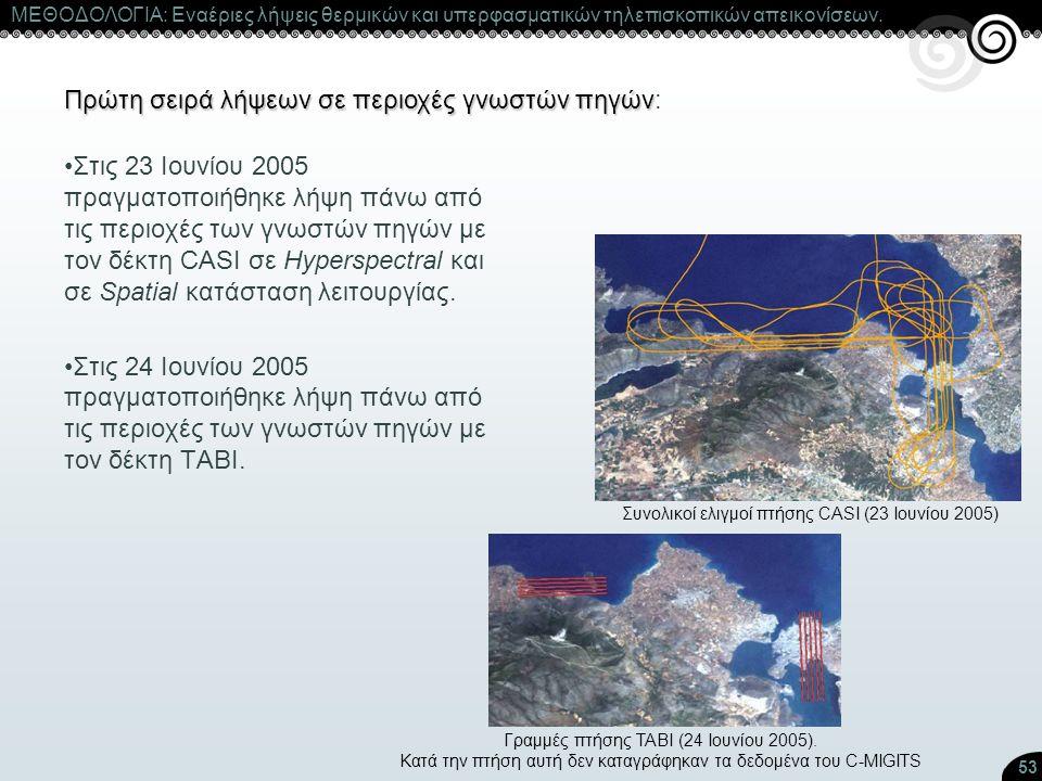 53 ΜΕΘΟΔΟΛΟΓΙΑ: Εναέριες λήψεις θερμικών και υπερφασματικών τηλεπισκοπικών απεικονίσεων. Πρώτη σειρά λήψεων σε περιοχές γνωστών πηγών Πρώτη σειρά λήψε