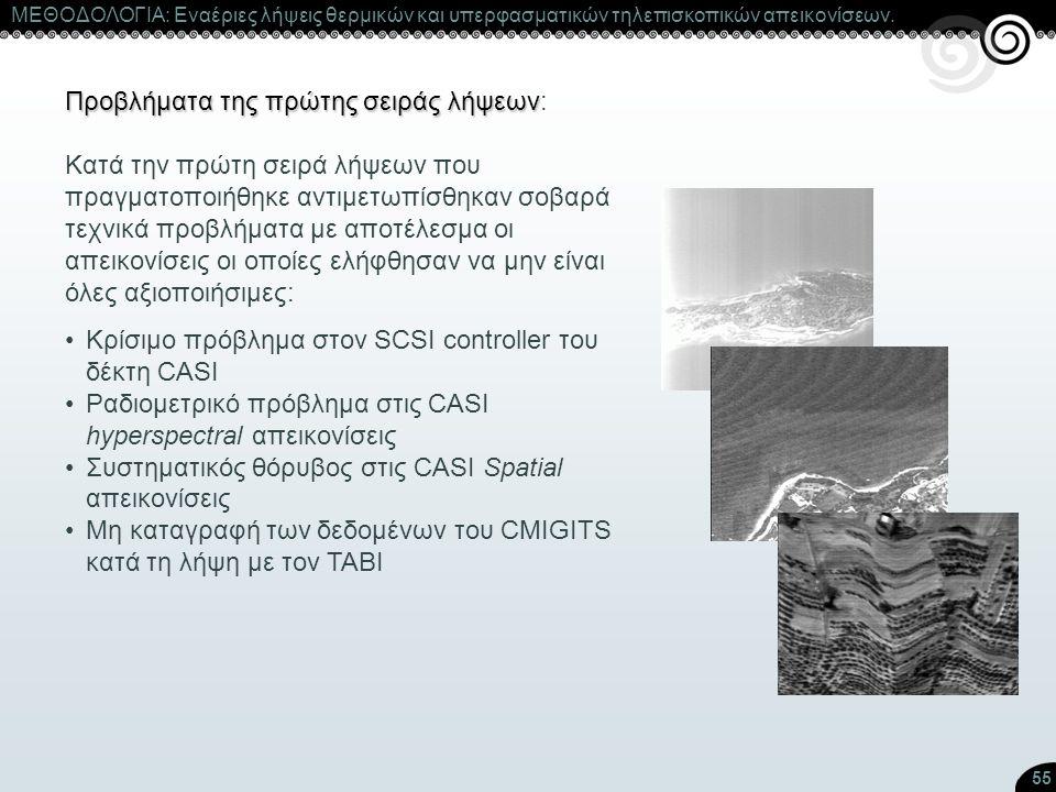 55 ΜΕΘΟΔΟΛΟΓΙΑ: Εναέριες λήψεις θερμικών και υπερφασματικών τηλεπισκοπικών απεικονίσεων. Προβλήματα της πρώτης σειράς λήψεων Προβλήματα της πρώτης σει
