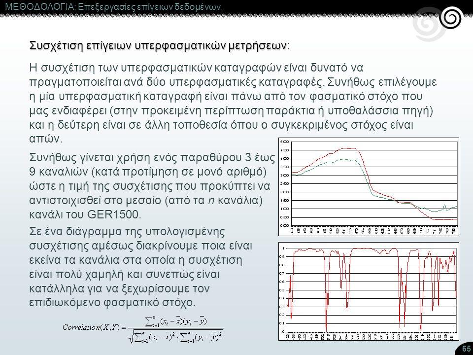 65 ΜΕΘΟΔΟΛΟΓΙΑ: Επεξεργασίες επίγειων δεδομένων. Συσχέτιση επίγειων υπερφασματικών μετρήσεων Συσχέτιση επίγειων υπερφασματικών μετρήσεων: Η συσχέτιση