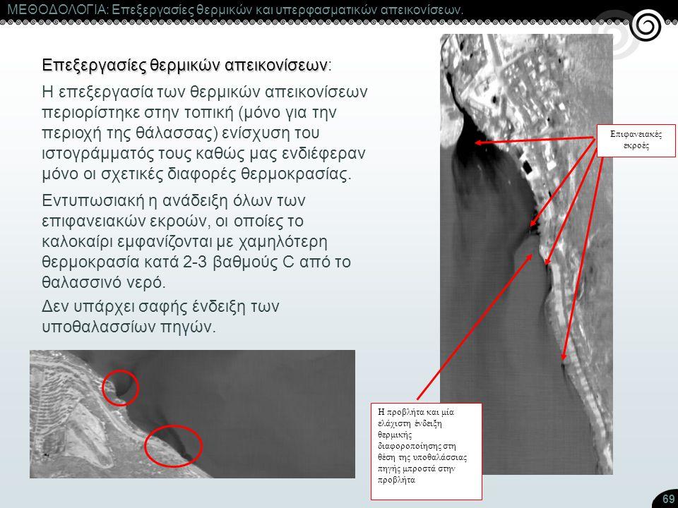 69 ΜΕΘΟΔΟΛΟΓΙΑ: Επεξεργασίες θερμικών και υπερφασματικών απεικονίσεων. Επεξεργασίες θερμικών απεικονίσεων Επεξεργασίες θερμικών απεικονίσεων: Η επεξερ
