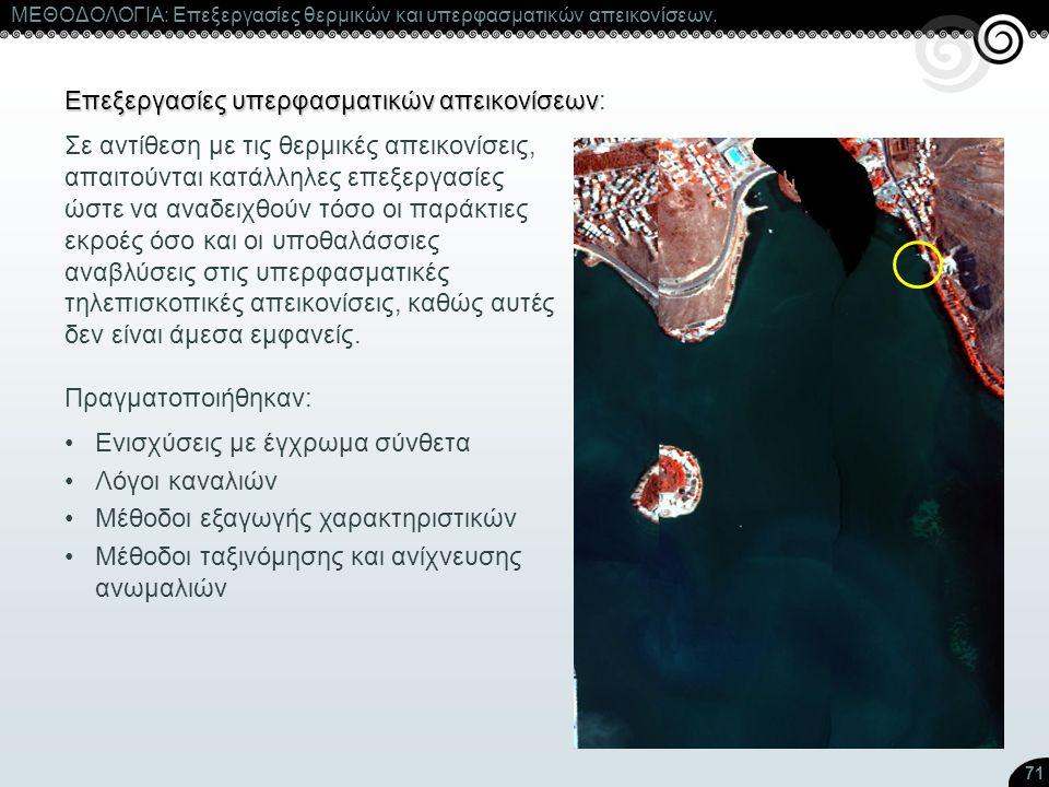 71 ΜΕΘΟΔΟΛΟΓΙΑ: Επεξεργασίες θερμικών και υπερφασματικών απεικονίσεων. Επεξεργασίες υπερφασματικών απεικονίσεων Επεξεργασίες υπερφασματικών απεικονίσε
