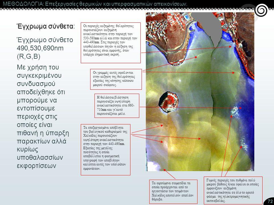 72 ΜΕΘΟΔΟΛΟΓΙΑ: Επεξεργασίες θερμικών και υπερφασματικών απεικονίσεων. Έγχρωμα σύνθετα Έγχρωμα σύνθετα: Οι περιοχές αυξημένης θολερότητας παρουσιάζουν