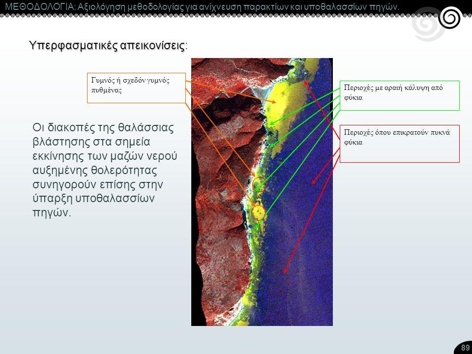 89 Υπερφασματικές απεικονίσεις Υπερφασματικές απεικονίσεις: Οι διακοπές της θαλάσσιας βλάστησης στα σημεία εκκίνησης των μαζών νερού αυξημένης θολερότ