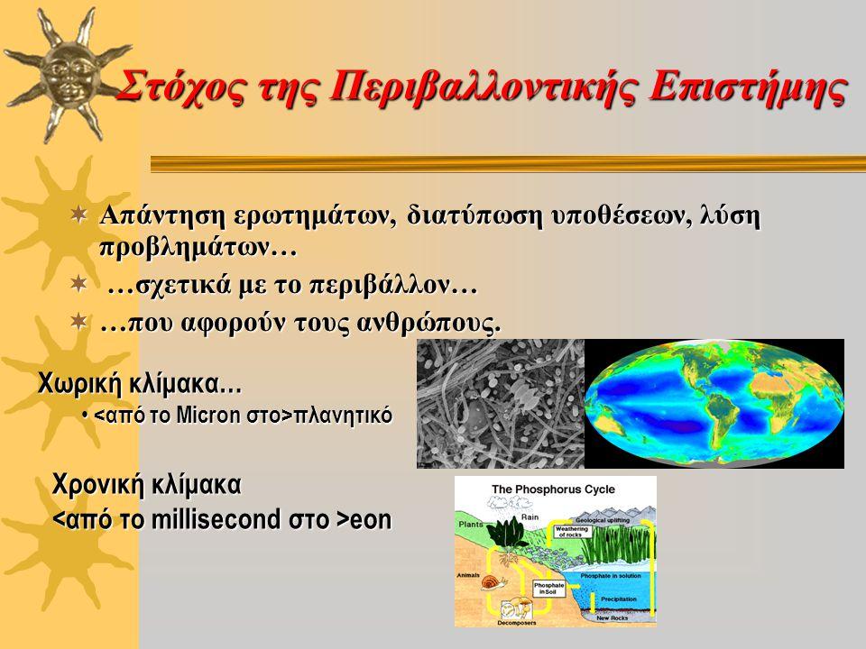 Στόχος της Περιβαλλοντικής Επιστήμης  Απάντηση ερωτημάτων, διατύπωση υποθέσεων, λύση προβλημάτων…  …σχετικά με το περιβάλλον…  …που αφορούν τους αν