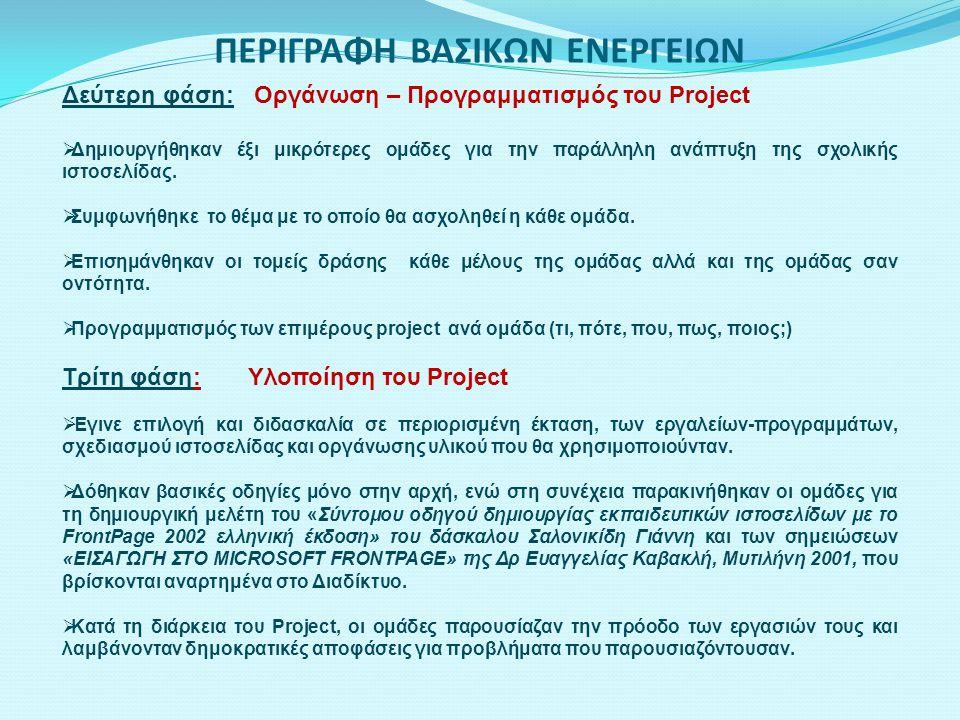 Δεύτερη φάση: Οργάνωση – Προγραμματισμός του Project  Δημιουργήθηκαν έξι μικρότερες ομάδες για την παράλληλη ανάπτυξη της σχολικής ιστοσελίδας.  Συμ