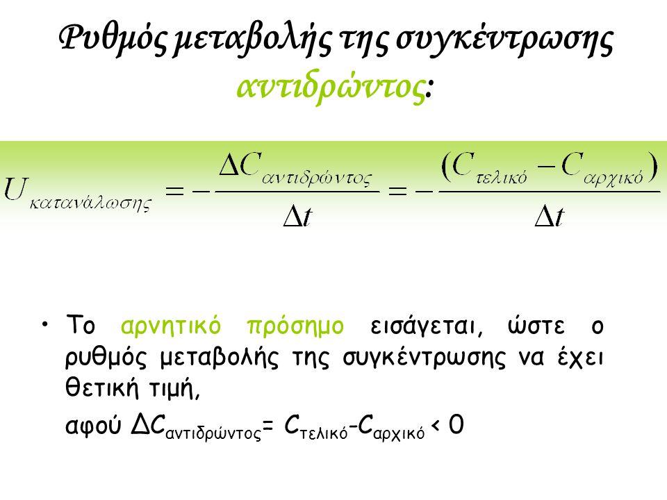 Ρυθμός μεταβολής της συγκέντρωσης αντιδρώντος: Το αρνητικό πρόσημο εισάγεται, ώστε ο ρυθμός μεταβολής της συγκέντρωσης να έχει θετική τιμή, αφού ΔC αν