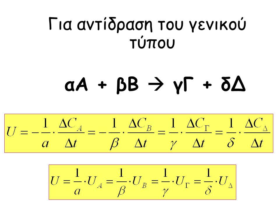 Για αντίδραση του γενικού τύπου αA + βB  γΓ + δΔ
