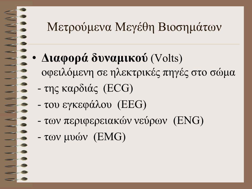 Μετρούμενα Μεγέθη Βιοσημάτων Διαφορά δυναμικού (Volts) οφειλόμενη σε ηλεκτρικές πηγές στο σώμα - της καρδιάς (ECG) - του εγκεφάλου (EEG) - των περιφερειακών νεύρων (ENG) - των μυών (EMG)