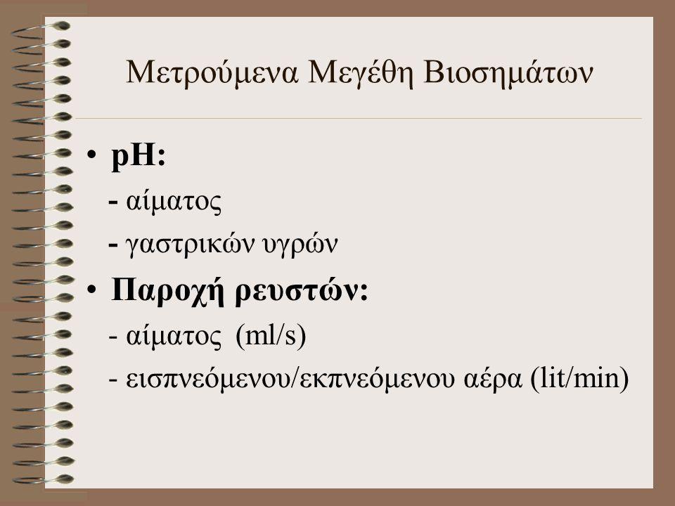 pΗ: - αίματος - γαστρικών υγρών Παροχή ρευστών: - αίματος (ml/s) - εισπνεόμενου/εκπνεόμενου αέρα (lit/min) Μετρούμενα Μεγέθη Βιοσημάτων
