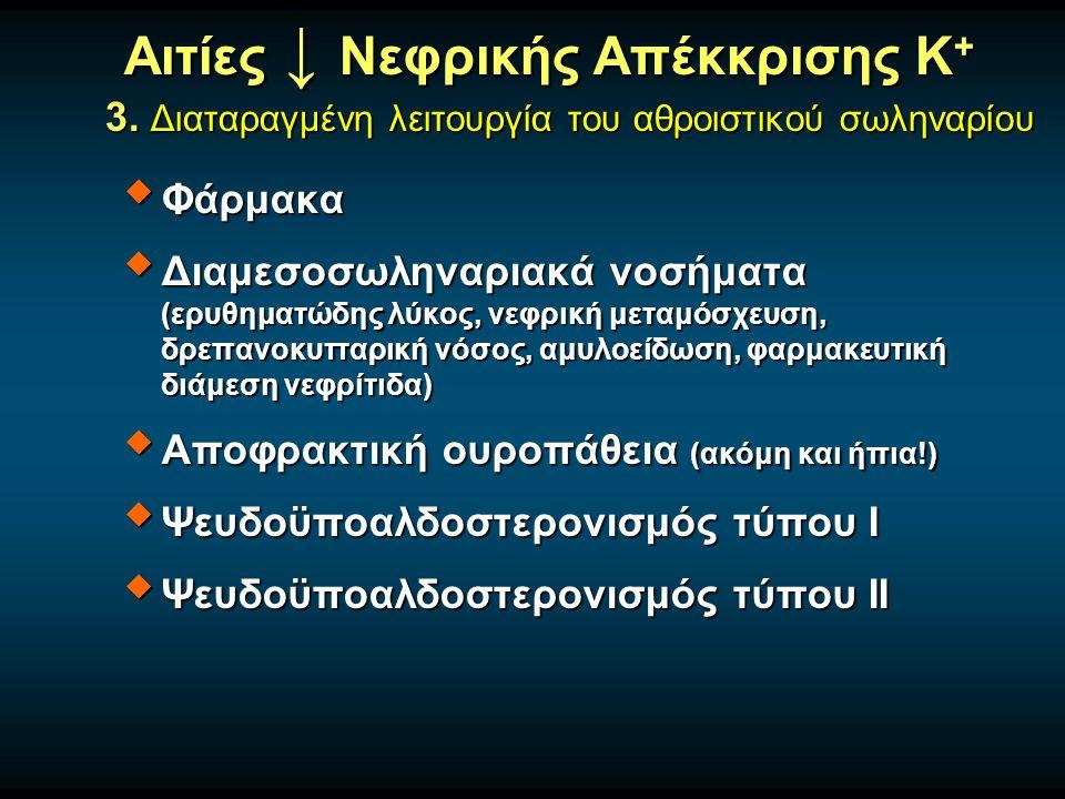  Φάρμακα  Διαμεσοσωληναριακά νοσήματα (ερυθηματώδης λύκος, νεφρική μεταμόσχευση, δρεπανοκυτταρική νόσος, αμυλοείδωση, φαρμακευτική διάμεση νεφρίτιδα)  Αποφρακτική ουροπάθεια (ακόμη και ήπια!)  Ψευδοϋποαλδοστερονισμός τύπου Ι  Ψευδοϋποαλδοστερονισμός τύπου ΙΙ Αιτίες ↓ Νεφρικής Απέκκρισης Κ + 3.
