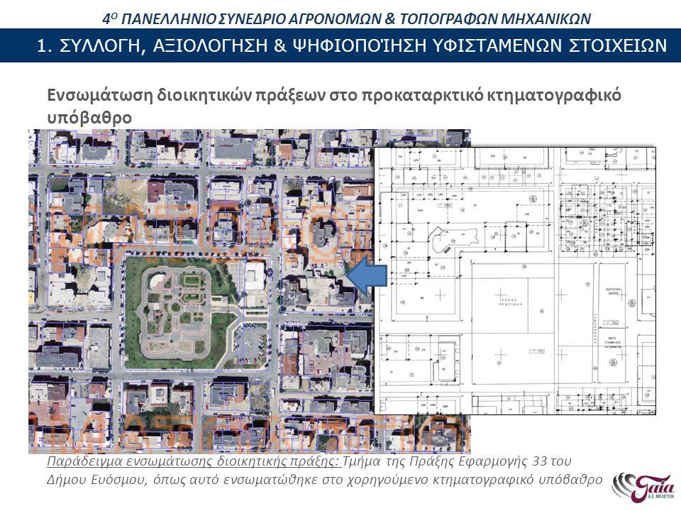 ΠΕΡΙΕΧΟΜΕΝΑ ΠΑΡΟΥΣΙΑΣΗΣ Ενσωμάτωση διοικητικών πράξεων στο προκαταρκτικό κτηματογραφικό υπόβαθρο Παράδειγμα ενσωμάτωσης διοικητικής πράξης: Τμήμα της Πράξης Εφαρμογής 33 του Δήμου Ευόσμου, όπως αυτό ενσωματώθηκε στο χορηγούμενο κτηματογραφικό υπόβαθρο 4 Ο ΠΑΝΕΛΛΗΝΙΟ ΣΥΝΕΔΡΙΟ ΑΓΡΟΝΟΜΩΝ & ΤΟΠΟΓΡΑΦΩΝ ΜΗΧΑΝΙΚΩΝ 1.