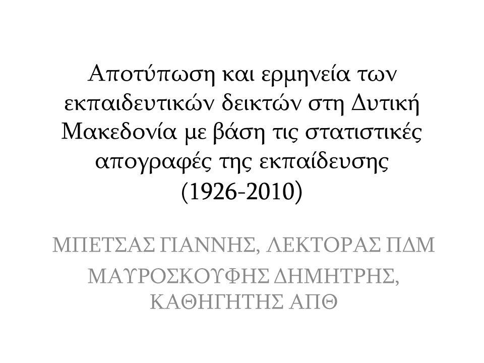 Αποτύπωση και ερμηνεία των εκπαιδευτικών δεικτών στη Δυτική Μακεδονία με βάση τις στατιστικές απογραφές της εκπαίδευσης (1926-2010 ) ΜΠΕΤΣΑΣ ΓΙΑΝΝΗΣ, ΛΕΚΤΟΡΑΣ ΠΔΜ ΜΑΥΡΟΣΚΟΥΦΗΣ ΔΗΜΗΤΡΗΣ, ΚΑΘΗΓΗΤΗΣ ΑΠΘ