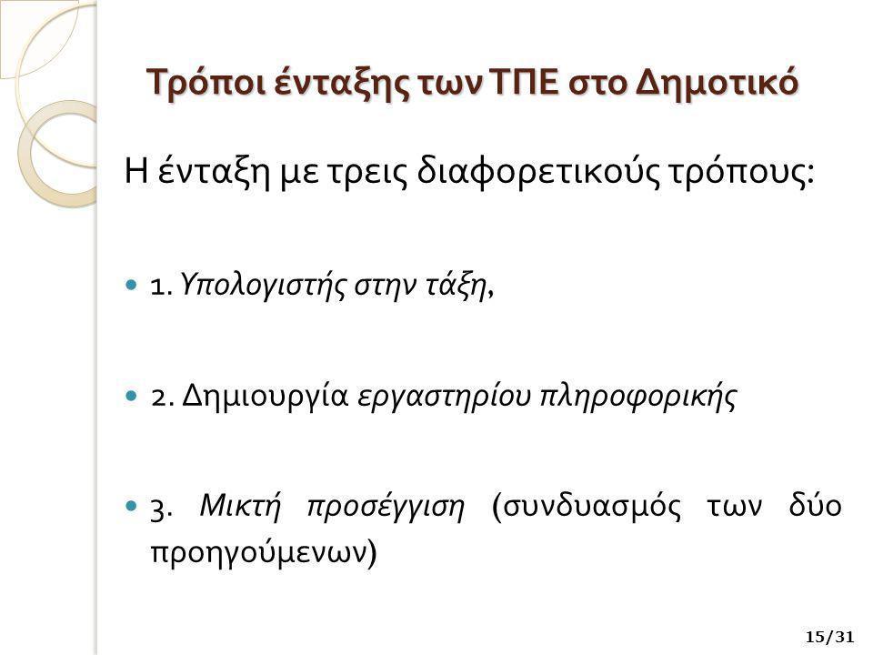 Τρόποι ένταξης των ΤΠΕ στο Δημοτικό Η ένταξη με τρεις διαφορετικούς τρόπους : 1.