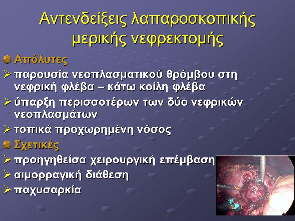 Αντενδείξεις λαπαροσκοπικής μερικής νεφρεκτομής Απόλυτες  παρουσία νεοπλασματικού θρόμβου στη νεφρική φλέβα – κάτω κοίλη φλέβα  ύπαρξη περισσοτέρων