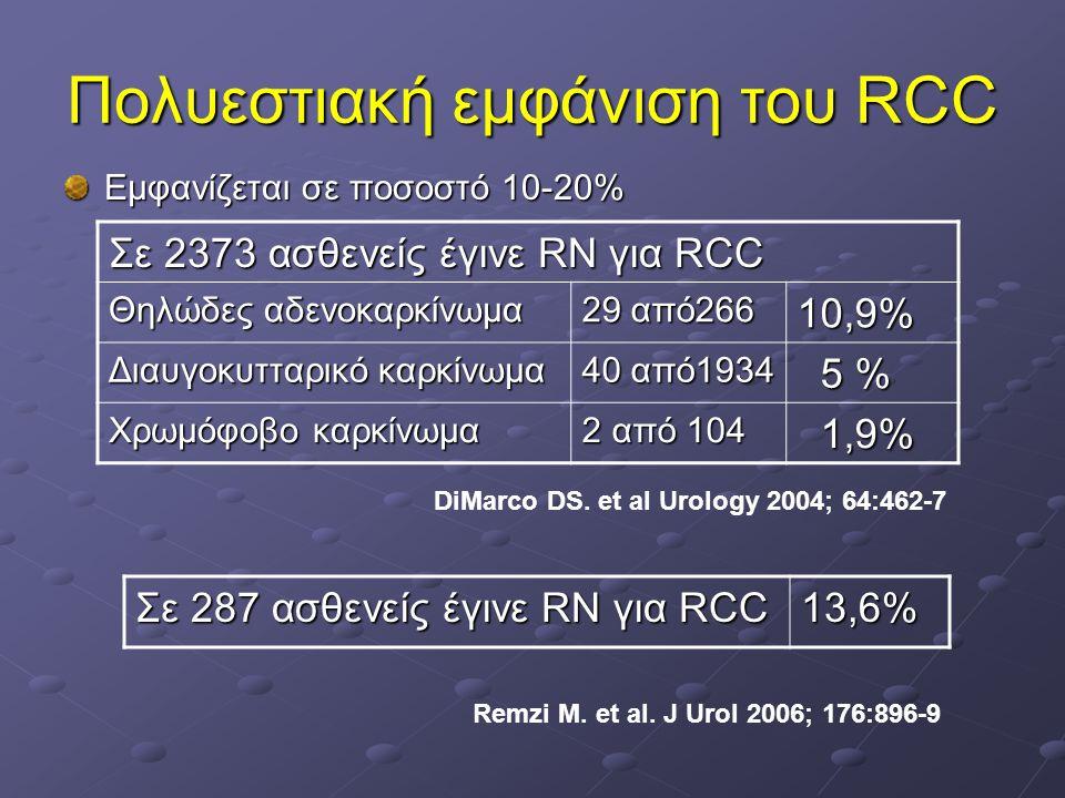 Πολυεστιακή εμφάνιση του RCC Σε 2373 ασθενείς έγινε RN για RCC Θηλώδες αδενοκαρκίνωμα 29 από266 10,9% Διαυγοκυτταρικό καρκίνωμα 40 από1934 5 % 5 % Χρω