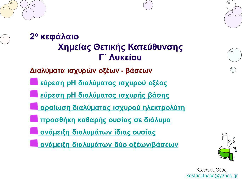 Κων/νος Θέος, kostasctheos@yahoo.gr kostasctheos@yahoo.gr 2 ο κεφάλαιο Χημείας Θετικής Κατεύθυνσης Γ΄ Λυκείου Διαλύματα ισχυρών οξέων - βάσεων εύρεση pH διαλύματος ισχυρού οξέος εύρεση pH διαλύματος ισχυρής βάσηςεύρεση pH διαλύματος ισχυρής βάσης αραίωση διαλύματος ισχυρού ηλεκτρολύτη προσθήκη καθαρής ουσίας σε διάλυμα ανάμειξη διαλυμάτων ίδιας ουσίας ανάμειξη διαλυμάτων δύο οξέων/βάσεων
